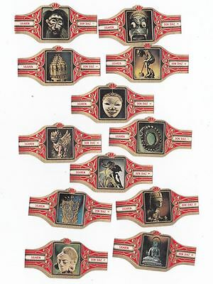 12 small cigar bands Don Diaz Indonesian Art red