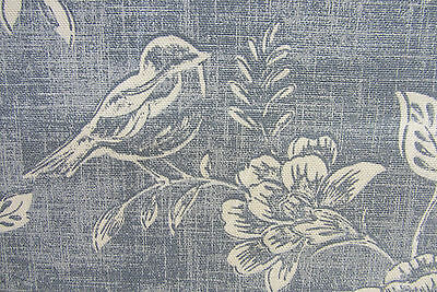Reverse Toile Chambray Blue Cotton  Curtain/Craft Fabric
