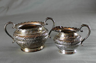 Antique Silver Plated Cream Jug and Sugar Basin