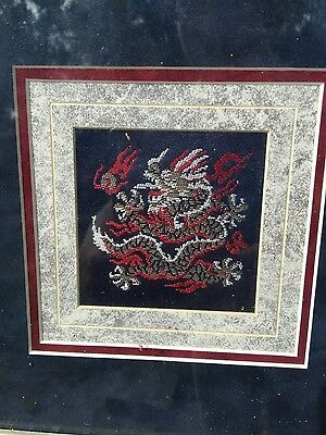 Vintage Chinese Dragon Yun Brocade Embroidery Framed