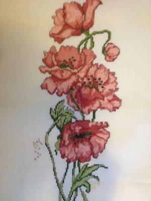 Completed Counted Cross Stitch 'Poppies'