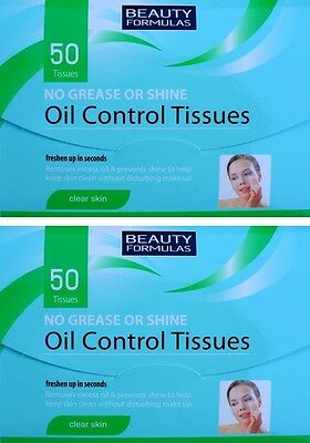 2x 50 Oil Control Tissues No Grease or Shine Absorbing Excess Oil Blotting Paper