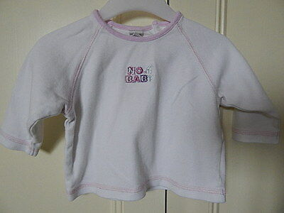 """Next Baby Girls Cute White Top With Pink Trim & """"no 1 Baby"""" 3-6M 100% Cotton"""