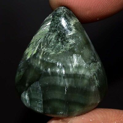 27.65Cts Amazing 100% Natural GREEN SERPHANITE PEAR 24X20 Cabochon