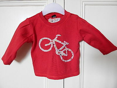 Babybugz Baby Girls Cute Red Top With Pretty Bike On Front 3-6M 100% Cotton
