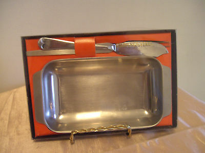 A Boxed 3-Piece Set Of Vintage Stainless Steel - Butter Dish Etc