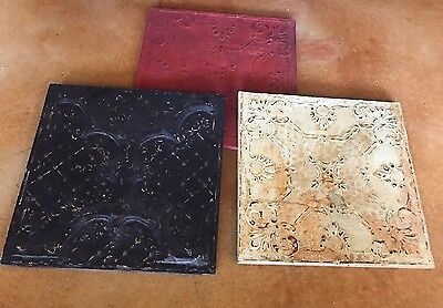 Lot Of 3 Antique Ceiling Tin Tiles Vtg Reclaim Salvage Wall Art Mounted 24 X 24