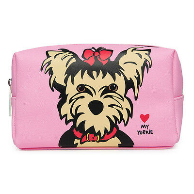 Yorkie Large Cosmetic Bag Gift Yorkshire Terrier Make up Bag, Pencil case