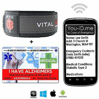 Alzheimers SMS Medical Alert ID Bracelet Identity & Card Emergency SMS Men Women