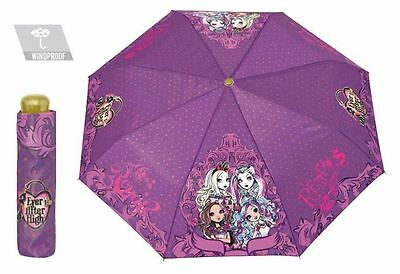 EVER AFTER HIGH | Girls Umbrella Compact Rain Brolly Girl Purple Handbag Brolly