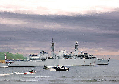 HMS HECLA /'82 Return/' LIMITED EDITION ART 25 HAND FINISHED
