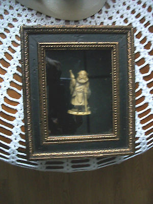 Antique Carved  Asian Chinese God Figurine in Shadow Box Frame