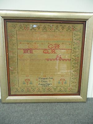 1833 Antique Sampler w/ Prayer Original Frame Signed Margaret Ann Elliot 10 Yrs