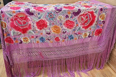 HUGE Beautifully Embroidered Vintage 1920's Silk Piano Scarf-Crochet and Fringe