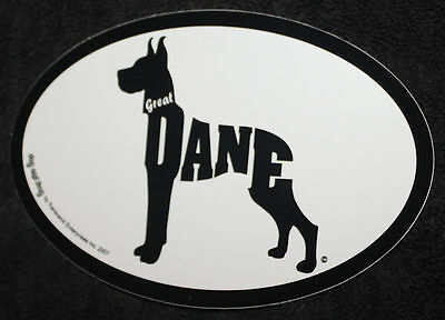 Great Dane Oval Euro Style Car Dog Decal Sticker