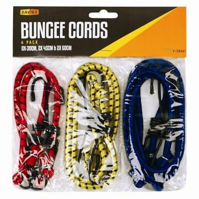 12x BUNGEE CORDS STRAPS SET WITH HOOKS ELASTICATED ROPE CORD CAR BIKE LUGGAGE