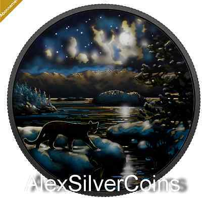 Animals in the Moonlight 2 oz. 99.99% Pure Silver Glow-In-The-Dark - Cougar
