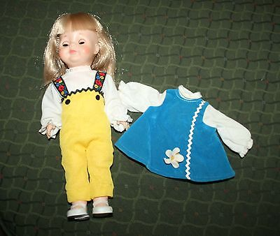 Vintage Vogue Doll Two Outfits Pr of Shoes Molded Eyelash Straight Leg