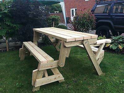 Garden Wooden Folding Picnic Seat Table Bench 2 in 1 Handmade Chunky Wood
