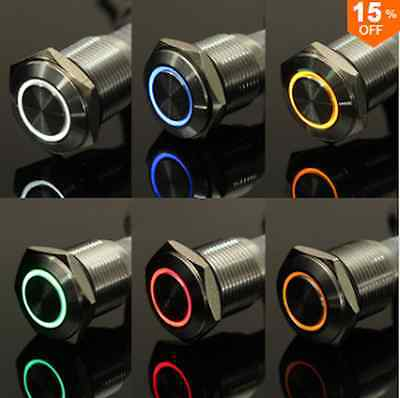 12V 16mm Angel Eye Metal illuminated LED Push Button Switch Car Dash