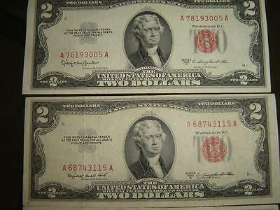 $2 1953 Red Seal Jefferson Dollar Silver Certificate Old Antique Money Banknote