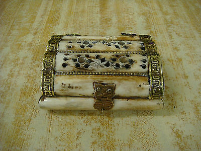 Antique Middle East Carved Camel Bone & Brass Trinket Jewerly Box 4.5""
