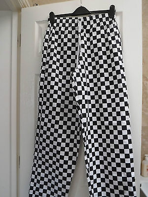 Mens black & white check chef's/ catering trousers, size medium