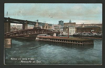 Old 1908 Postcard. Railway And Swing Bridges,  Newcastle.
