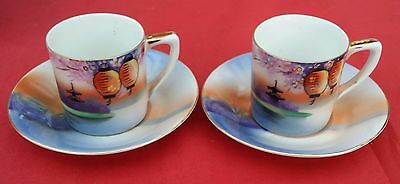 2 beautiful Noritake Chinese lantern coffee cups and saucers
