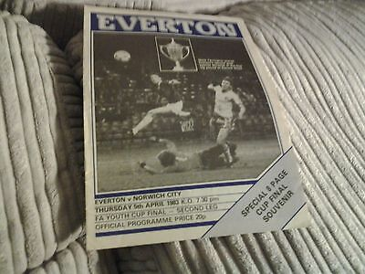 82.83 everton v norwich FA YOUTH CUP FINAL