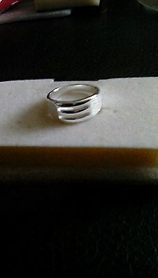 925 silver tone patterned band ring size R
