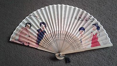 vintage Chinese silk and bamboo wood fan