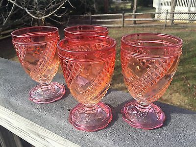"""4 Gorgeous Baccarat Crystal Glass Diamond Serpentine Rose Tiente 5 1/8"""" Goblets"""