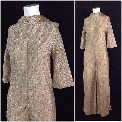 Vintage 1960s 1970s Disco Gold Lame  Sheer Mock Neck Jumpsuit One piece S