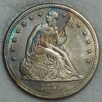 1859 S Seated SILVER DOLLAR XF+/AU Detailing Authentic *RARE KEY* 20,000 Minted!