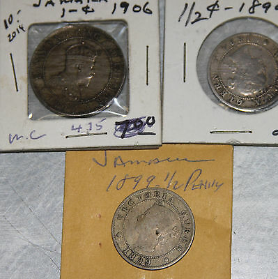 3 LOT Jamaica Coins: 1906 One Penny, 1894 & 1899 Half Penny (1 penny, 1/2 Penny)