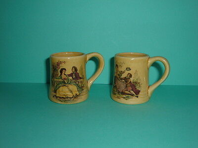 Pair Earthenware Miniature Mugs/tankards With Watteau Painting Ex. Cond.