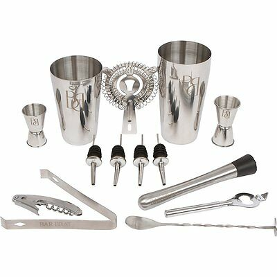 PREMIUM Bartender Set 14 Pieces Bar Tools Cocktail Mixer Drink Shaker Mixing Kit