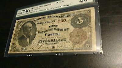 first national bank of warren pennsylvania $5 1882 brown back 1 of 2