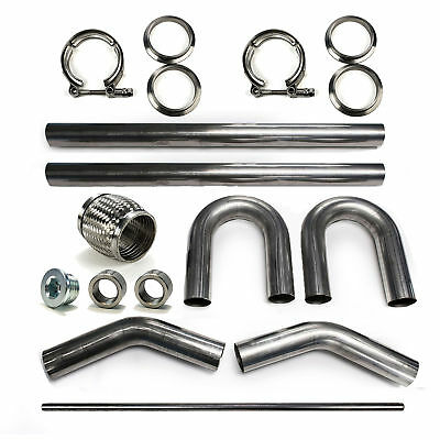 "2.5"" 304 Stainless Mandrel Bend DIY Kit Exhaust V-Band Clamp Flex Coupler 45 180"