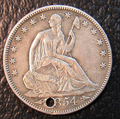 1854(ARROWS) Seated Half Dollar XF Detail HOLED