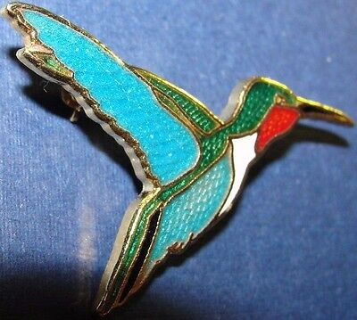 Vintage  Enamel Pin William Spear Alaska Design Ruby Throated Hummingbird 1986