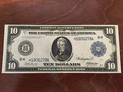 1914 $10 Beautiful St Louis Large Federal Reserve Note