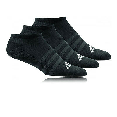 Adidas 3S Performance No Show HC Mens Womens Black Running Anklet Socks 3 Pack