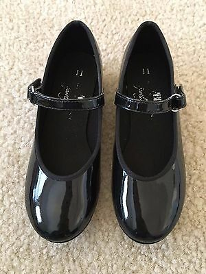ABT Spotlights Dance Shoes, Girl's Black Patent Leather Tap Shoes, Size 11