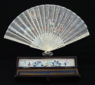 Rare 19th C Chinese Cantonese Carved Cloud Dragon Embroidered  Silk Fan in Box