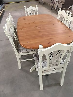 shabby chic table and chairs Pine With 6 Chairs