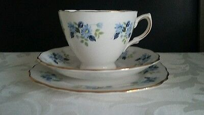 Vintage Royal Vale tea cup trio - pretty blue flowers