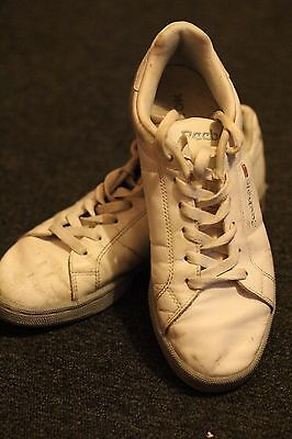 Vintage White Leather Reebok Classic Trainers Size 5 90s Hipster Rave