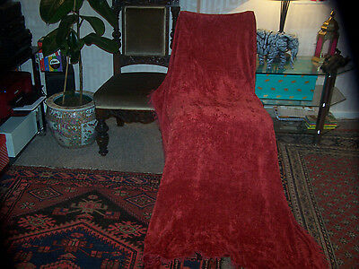 """VINTAGE CHENILLE TABLECLOTH-STUNNING COLOUR-FRINGE-52""""wX70""""-GOOD SHABBY CHIC"""